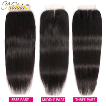 Nadula Haar Braziliaanse Steil Haar Sluiting 10 20Inch Gratis/Middelste Deel Pu/Zwitserse Kant Sluiting Natuurlijke kleur Remy Haar Weave