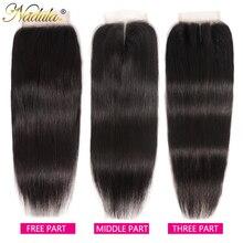 Nadula Hair 브라질 스트레이트 헤어 클로저 10 20 인치 프리/미들 파트 PU/스위스 레이스 클로저 Natural Color Remy Hair Weave