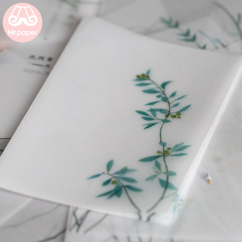 Mr paper 30 Pcs Creative Chinoiserie Artsy Leaves Writing Note Plants Flowers Memo Pads Transparent Paper Loose Leaf Paper 2