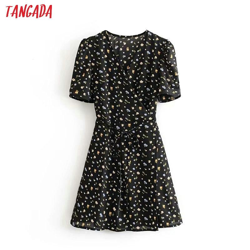 Tangada Fashion Women Flowers Print Black Dress For Summer V Neck Long Sleeve Ladies Slash Chiffon Mini Dress Vestidos 3D05