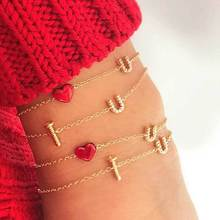 Multi Layer Red I Love U Letters Chain Bracelets Sets For Girls Woman Fashion Jewelry Gifts Summer Holiday-YSF