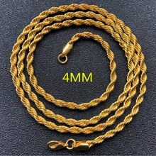 2019 Retail Wholesale Long Gold-Color Man necklace 4mm 16,18,20,22,24,26,28,30 inch Twist Rope Chain jewelry accesory Fashion(China)
