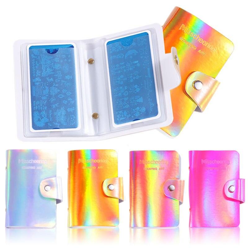 20slots Rectangular Nail Art Stamp Plate Stamping Plates Holder Storage Bag  Symphony PU Leather Case Stamp Bag Organizer