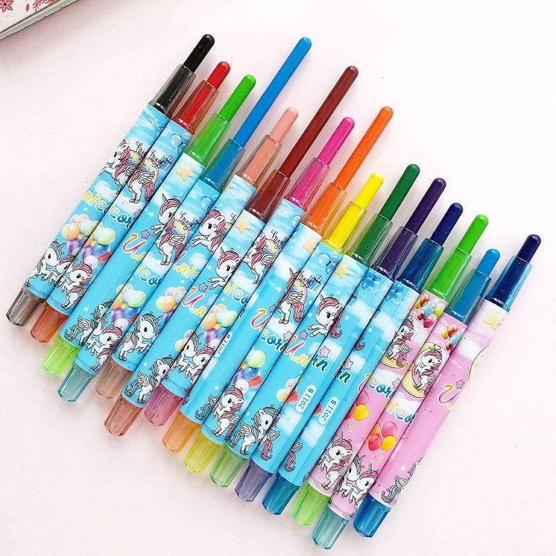 12pcs/set Unicorn Crayon Korean Creative Graffiti Kawaii Oil Pastel Pens For Kids Painting Drawing Art School Office Supply