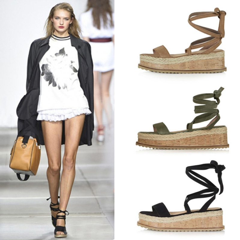 Platform Sandals Espadrilles Rome-Shoes Lace-Up White Wedge Open-Toe Female Casual Summer title=