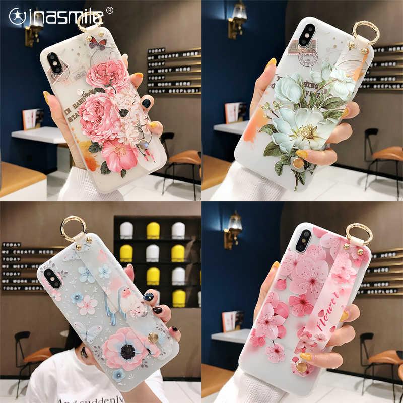 Fleur Dragonne Téléphone étui pour samsung Galaxy S8 S9 S10 Plus Note 8 9 10 A20 A30 A40 A50 A60 A70 M20 protecteur D'écran gratuit