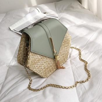 Women Rattan BagsBeach Straw Vintage Weave Shoulder Bag Hollow Out Ladies Female PU Straps Crossbody Handbag Drop Shipping