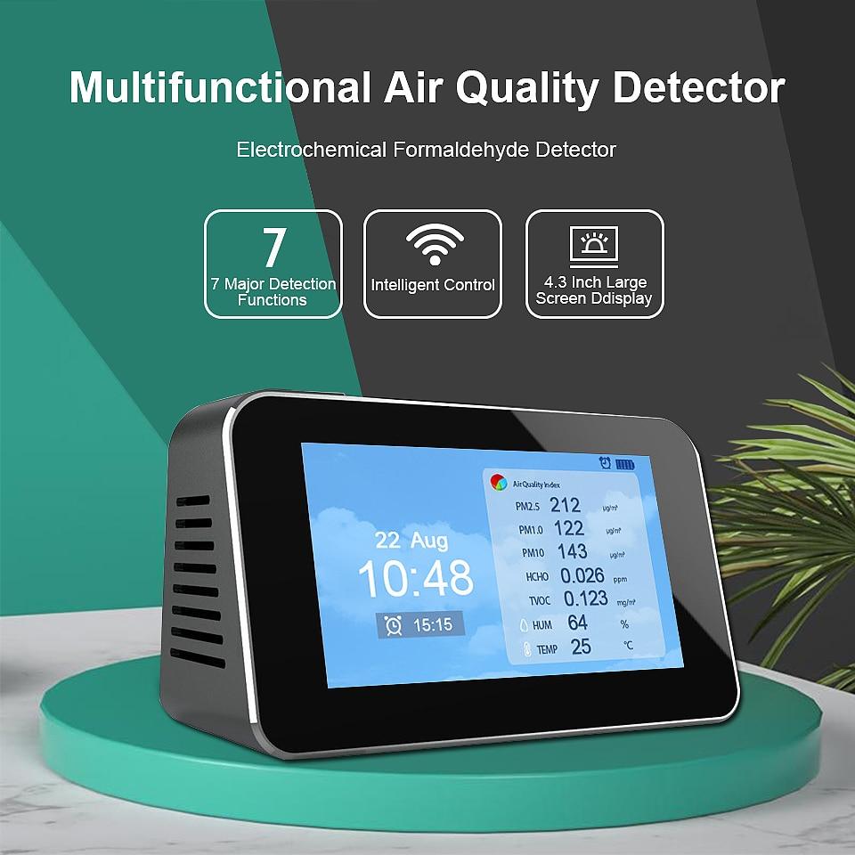 USA LCD Digital Detector PM2.5 PM10 Formaldehyde HCHO TVOC Air Quality Monitor