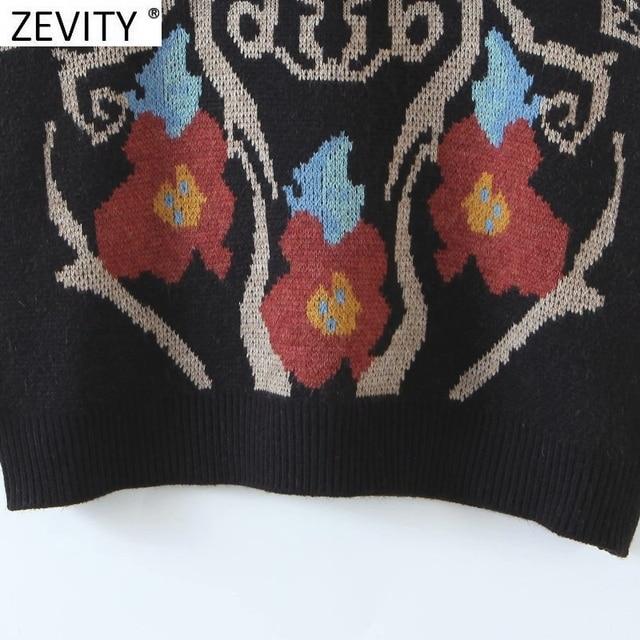 Zevity Women Vintage Totem Flower Pattern Sleeveless Vest Female Retro National Style Patchwork Casual Jacquard WaistCoat S617 6