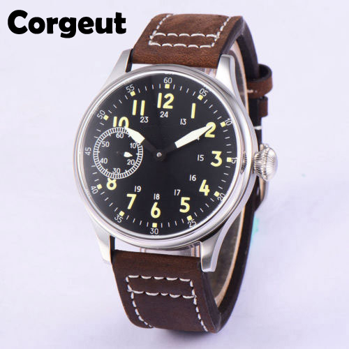 Vintage 44mm Corgeut Black Sterile Dial Luminous 17 Jewels Asian 6497 Mechanical Hand Winding Movement Men's Watch Cor70