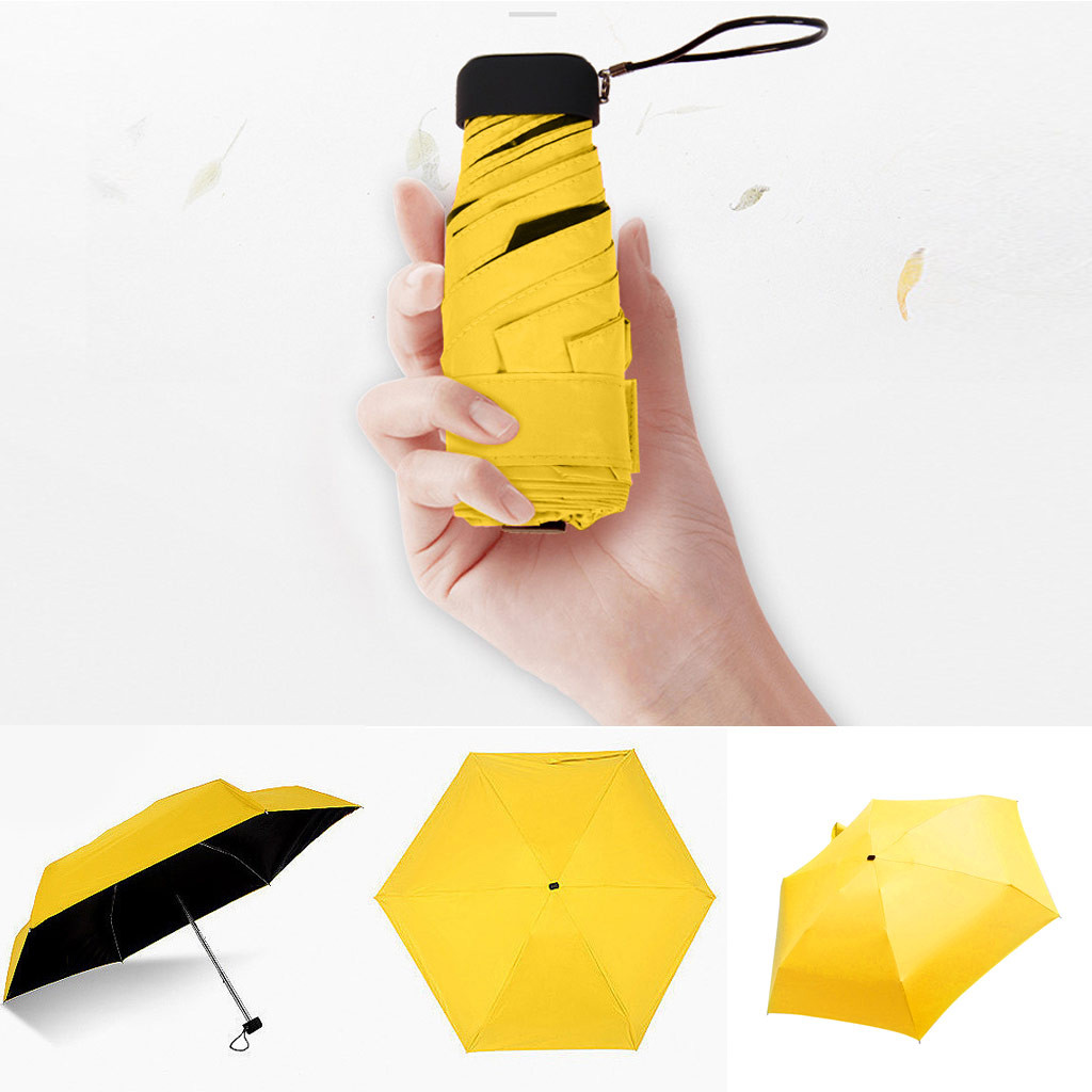 Umbrella Rain Sunscreen Folding Pocket Mini Portable Women Windproof 5 Female