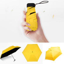 Kieszonkowy mini parasol deszcz kobiety wiatroszczelne trwałe 5 składane parasole przeciwsłoneczne przenośny krem do opalania kobieta parasol tanie tanio ISHOWTIENDA Sun Umbrella Słoneczne i deszczowe parasol Poliester Czarna powłoka Nie-automatyczny parasol Dorosłych Pięć składane parasol