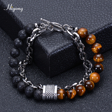 HIYONG Lava Rock Beaded Bracelet for Men Natural Tiger Eye Stone Stainless Steel Chain Bracelets Male Jewelry Gifts