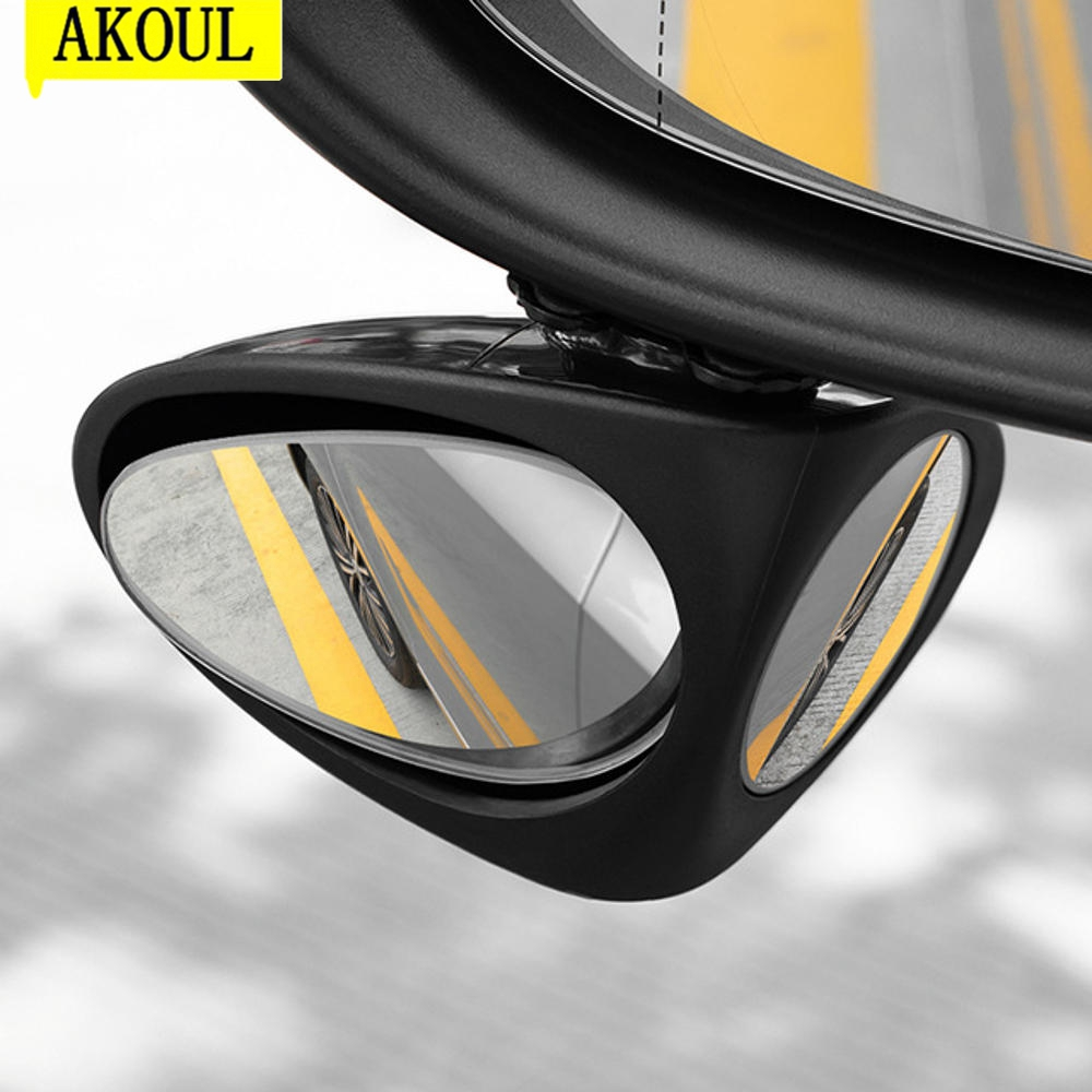 AKOUL Car Double Side Blind Spot Rearview Mirror HD 360 Wide Angle Reversing Auxiliary Mirror