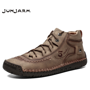 Image 1 - JUNJARM Brand Men Ankle Boots Quality Split Leather Shoes Men Snow Boots Winter Shoes Spring Men Boots Plus Size 48
