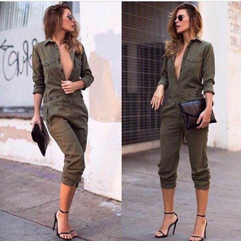 Vintage femmes militaire longue pantalon combishort mince moulante combinaison à manches longues armée vert solide décontracté Cargo pantalon
