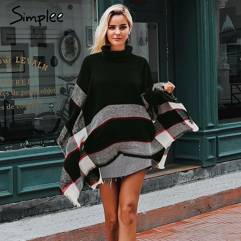 Simplee Knitted Turtleneck Cloak Sweater Female Black Casual Jumper Autumn Streetwear Women Sweaters And Pullovers 2018