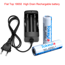 3.7V Voltage Hoge Afvoer 20A 18650 Batterij Flat top Oplaadbare 3000mAh ICR 18650 Li Ion Lithium Batterij + 18650 Lader