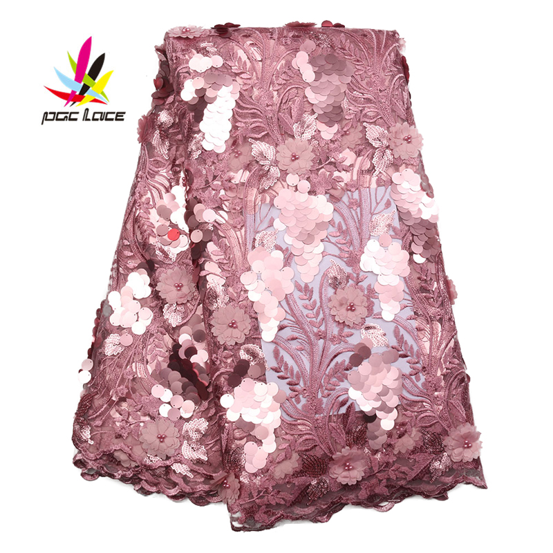 African Lace Fabric French Sequins Net Lace High Quality Sequin Fabric 3D Lace Fabric Onion Embroidery Lace For ASOEBI 2246B