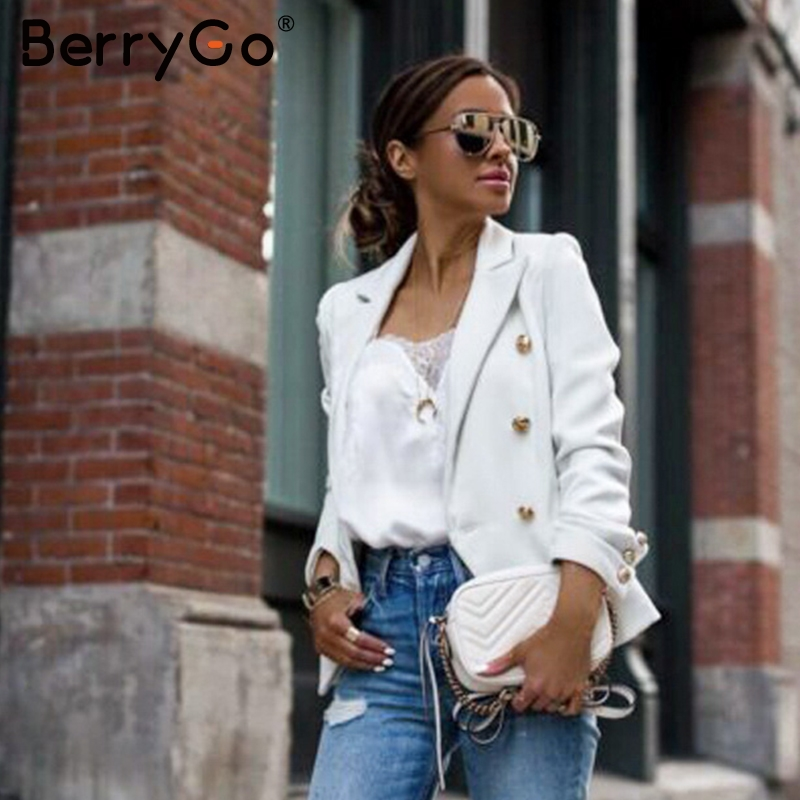 BerryGo Elegant Buttons Women Blazers Casual Long Sleeve Autumn Winter Female Blazer Jackets Office Ladies Blazers Coats Street