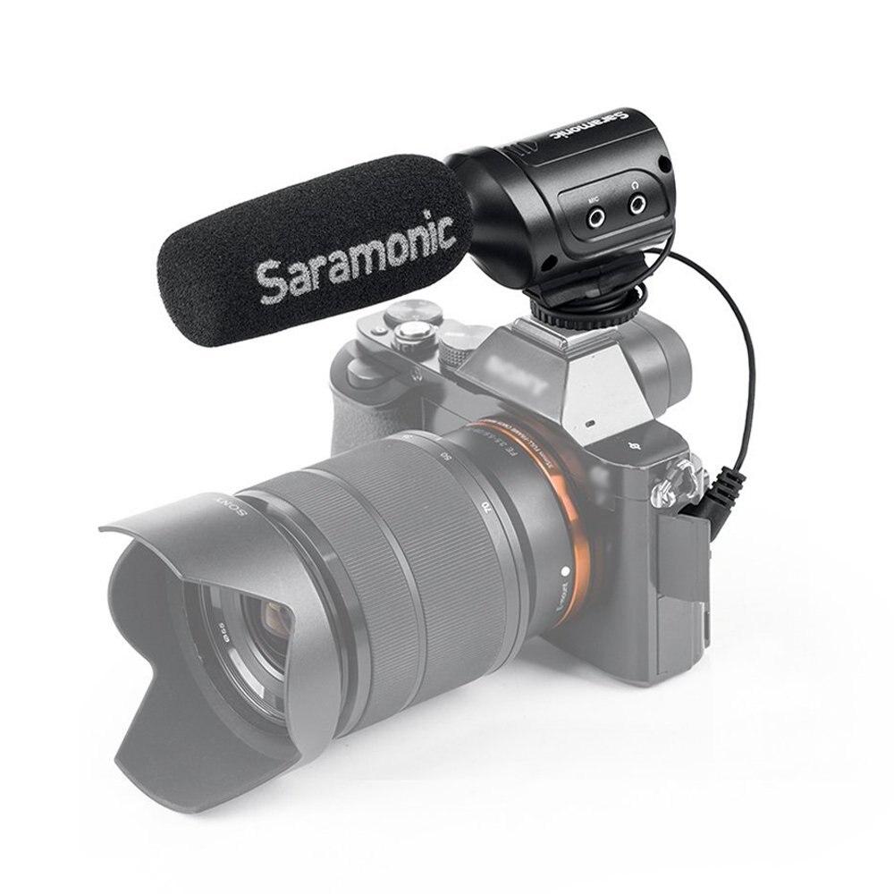 Condensador com Shockmount Interruptores para Câmeras Saramonic Mini Direcional Microfone Integrado Dslr & Filmadoras Sr-m3