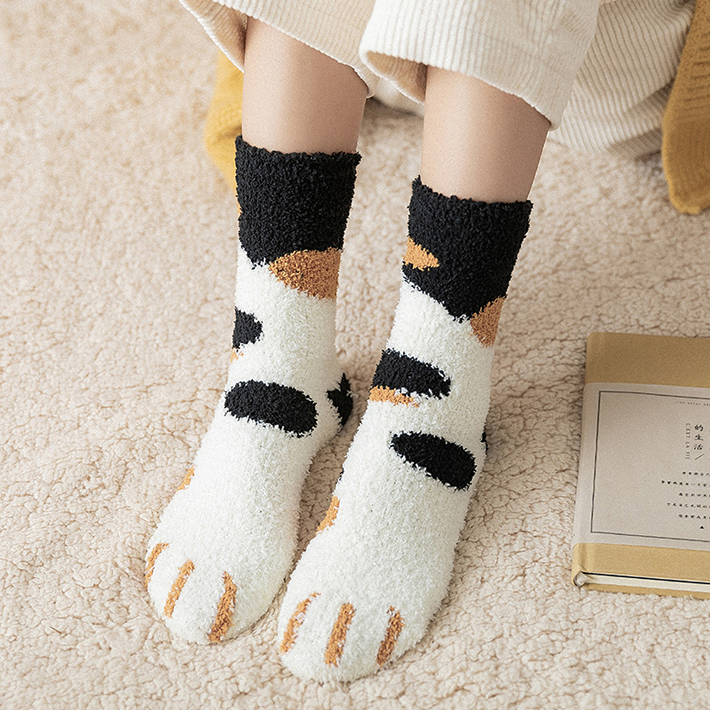 Winter Cat Claws Coral Fleece Stockings Cute Thickening Warm Sleeping Floor Socks