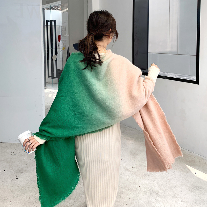 Custom Design Feel Soft and Comfortable Gradient Color Wool Scarf Double Shawl