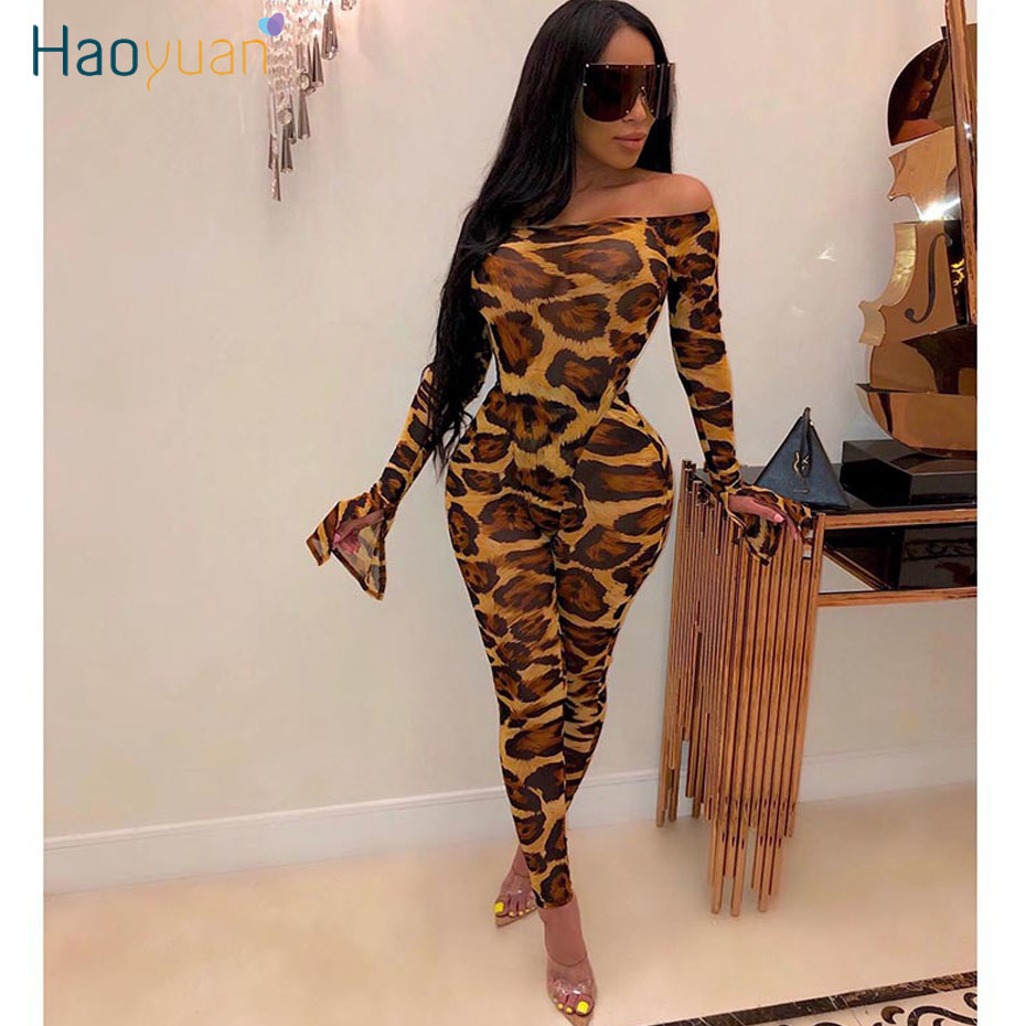 HAOYUAN Mesh Sheer Leopard Camouflage Two Piece Set Women <font><b>Festival</b></font> Clothing <font><b>Sexy</b></font> Rompers Top Pant Matching 2 Piece <font><b>Club</b></font> Outfits image