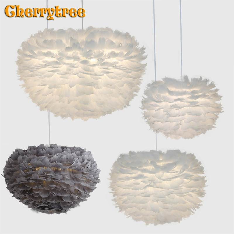 Feather Pendant Lights Modern Pandant Lamp Nordic Design Romantic  Kitchen Dining Room HangLamp Feather Hanging Light Fixture