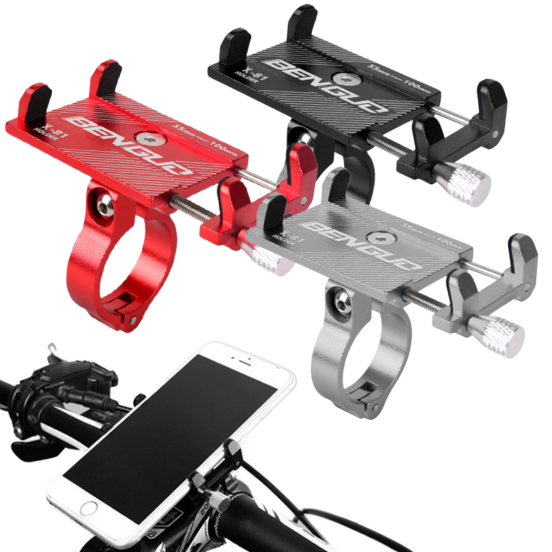 Bike Bicycle Aluminium Alloy Phone Holder Motorcycle Handlebar Mount Handle Phone Support Bracket For 3.5-6.2 Inch Smartphone