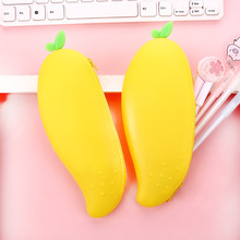 Creative simple pencil case student stationery bag small fresh silicone girl cute mango