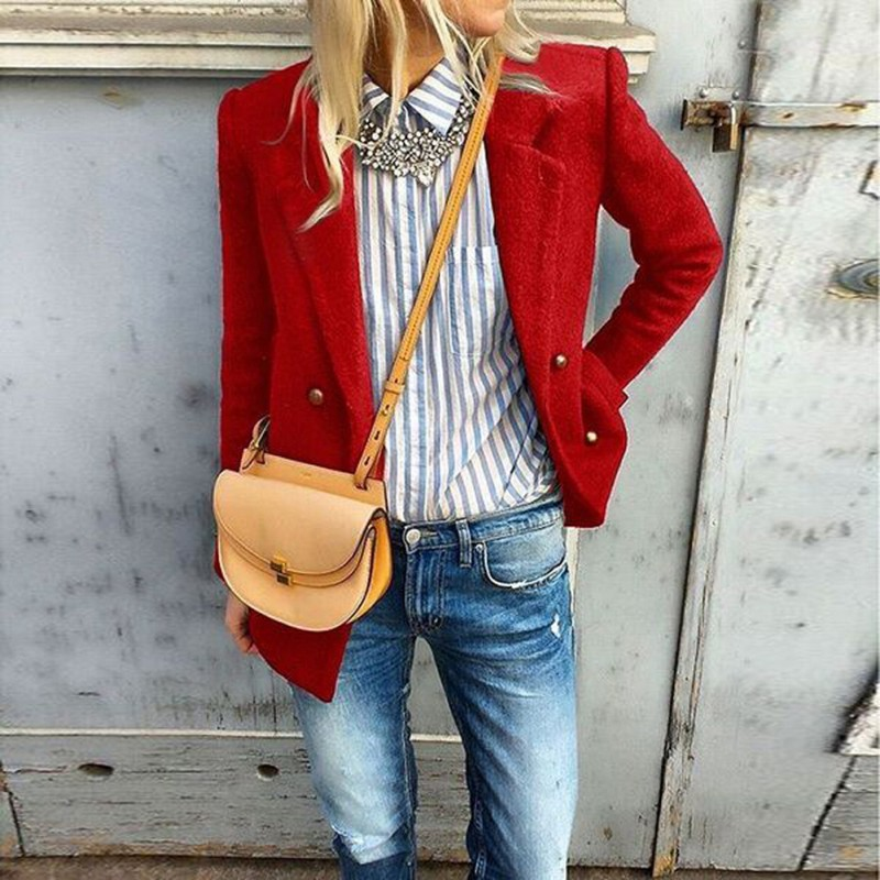Women Autumn Office Blazer Long Sleeve Classic Office Small Coats Ladies Double Breasted Red Black Clothing Work Suit Jackets