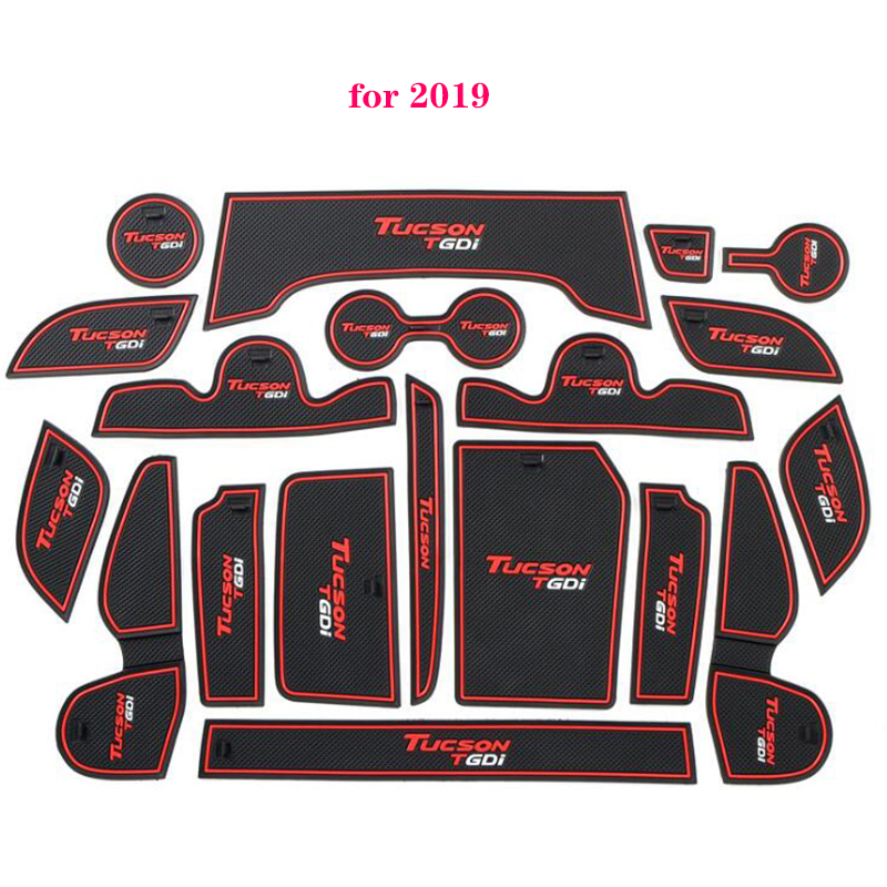 For Hyundai Tucson 2015 2016 2017 2018 2019 Car Gate Slot Non-slip Cup Pad Door Groove Mats Car-Styling Interior Decoration