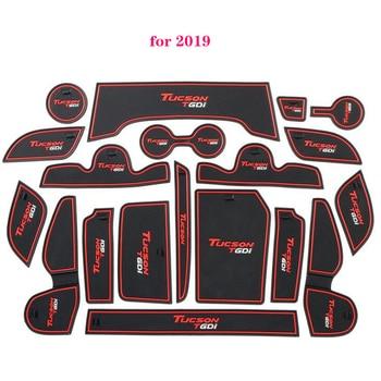 Para Hyundai Tucson 2015, 2016, 2017, 2018, 2019 puerta ranura antideslizante cojín taza puerta ranura alfombras de coche -decoración Interior de diseño