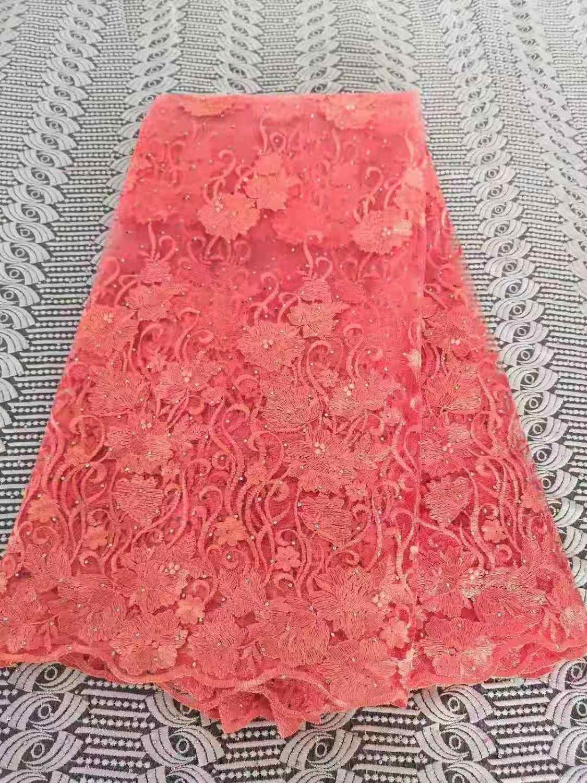 Высококачественная фиолетовая французская сетчатая вышивка Тюлевое кружево, нигерийское камни/ткань из бисера для свадебного платья FFH726