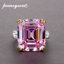 PANSYSEN ريال 925 فضة خاتم مجوهرات بسيط الأصلي 10x14 مللي متر الوردي الكوارتز سيترين كوكتيل خواتم للنساء هدايا فاخرة