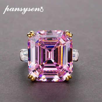 PANSYSEN Echt 925 Sterling Silber Schmuck Ring Einfache Ursprüngliche 10x14mm Rosa Quarz Citrine Cocktail Ringe für Frauen luxus Geschenke