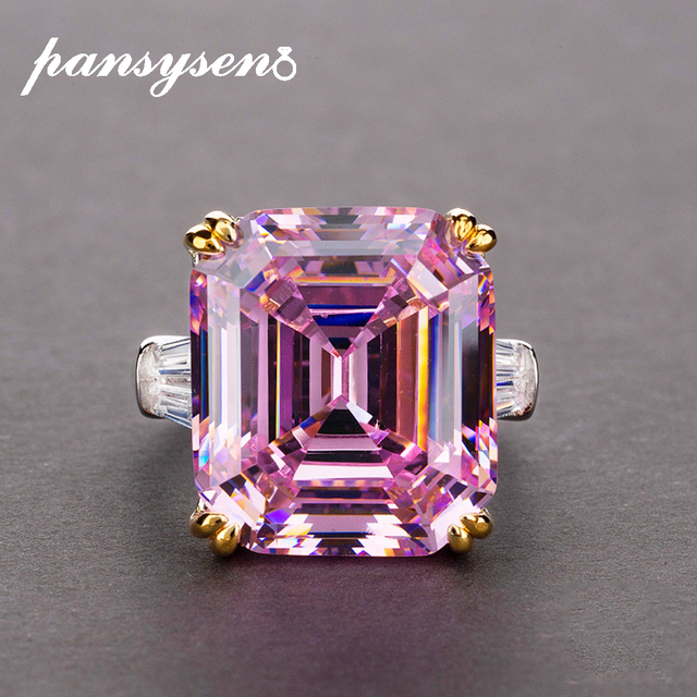PANSYSEN Real 925 Sterling Silver Jewelry Ring Simple Original 10x14mm Pink Quartz Citrine Cocktail Rings for Women Luxury Gifts