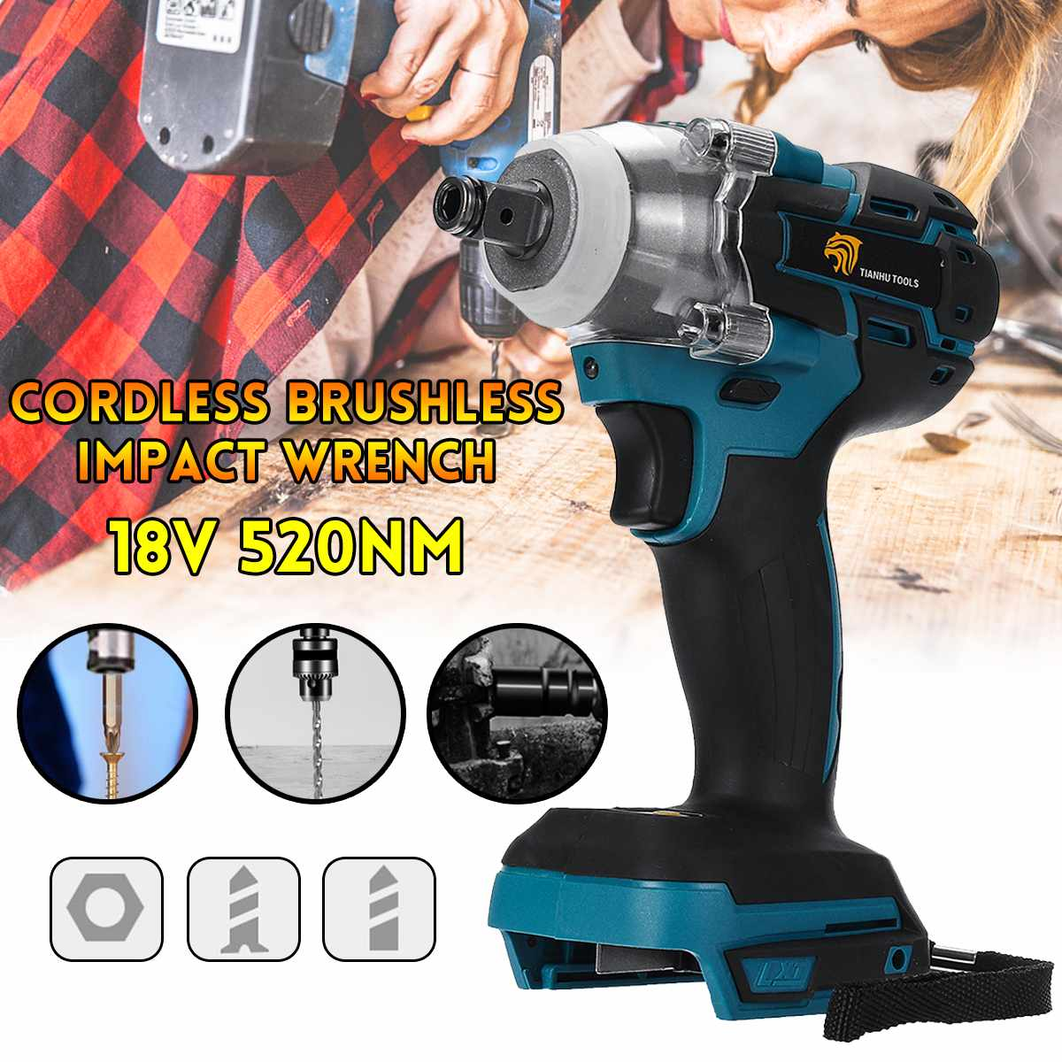 Brushless Cordless Electric Impact Wrench 18V 520Nm Makita Battery Socket Wrench Power Tool Wireless Batteryless and Accessories