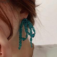 Hangzhi 2020 novo colorido cristal transparente contas flor bowknot exagerada longo borla brincos para meninas jóias