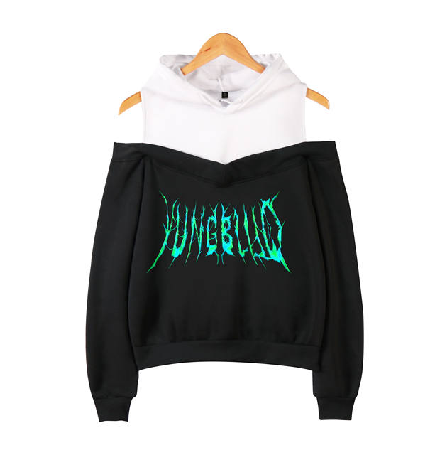 YUNG BLUD CROP TOP OFF-SHOULDER HOODIE (14 VARIAN)