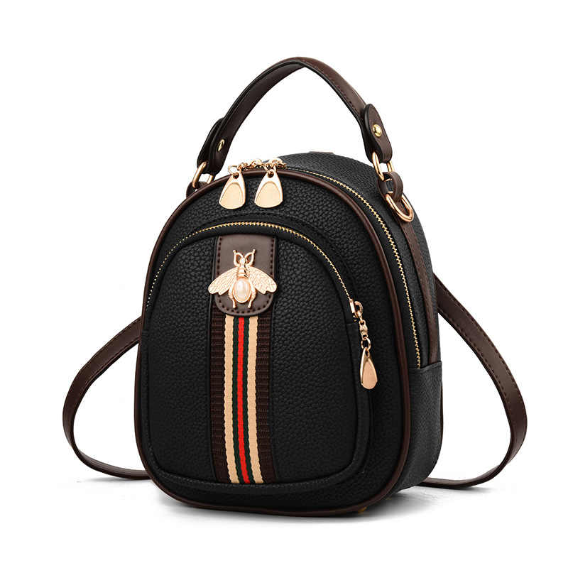 New Girl's Bag Small Bee Ribbon Hit Color Small Round Bag Student Backpack Pure Women Summer Bag Lovely Girl Backpack