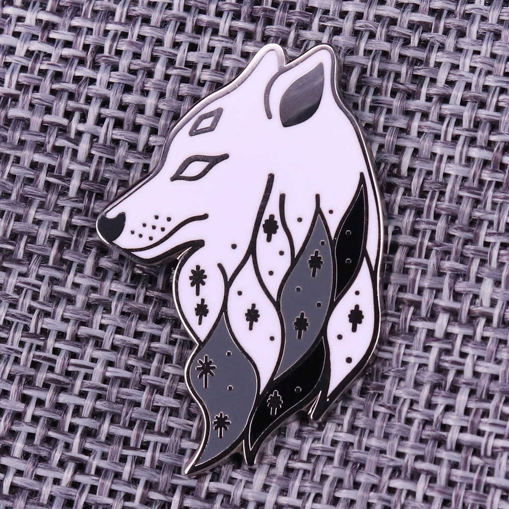 Howling Wolf Pin in Red Acrylic Animal Brooch Animal Shape Pin Wolf Shape Wolf Brooch