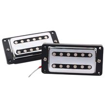 Double Coil Humbucker Pickup Electric Guitar Neck Bridge Pickup Chrome with Black Frame for LP Guitar suit for guitar цена 2017