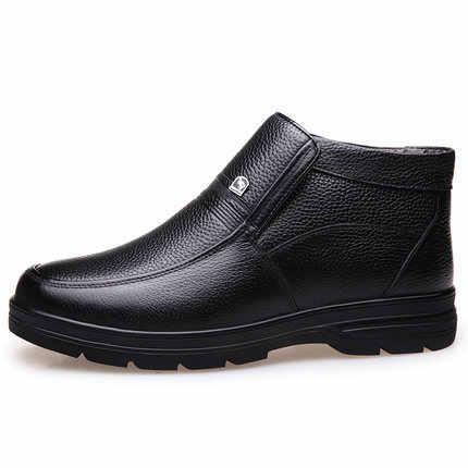 Erkek pamuklu ayakkabılar orta yaşlı sıcak İlk katman inek derisi deri yaşlı adamın ayakkabı artı kadife yüksek top pamuklu ayakkabılar