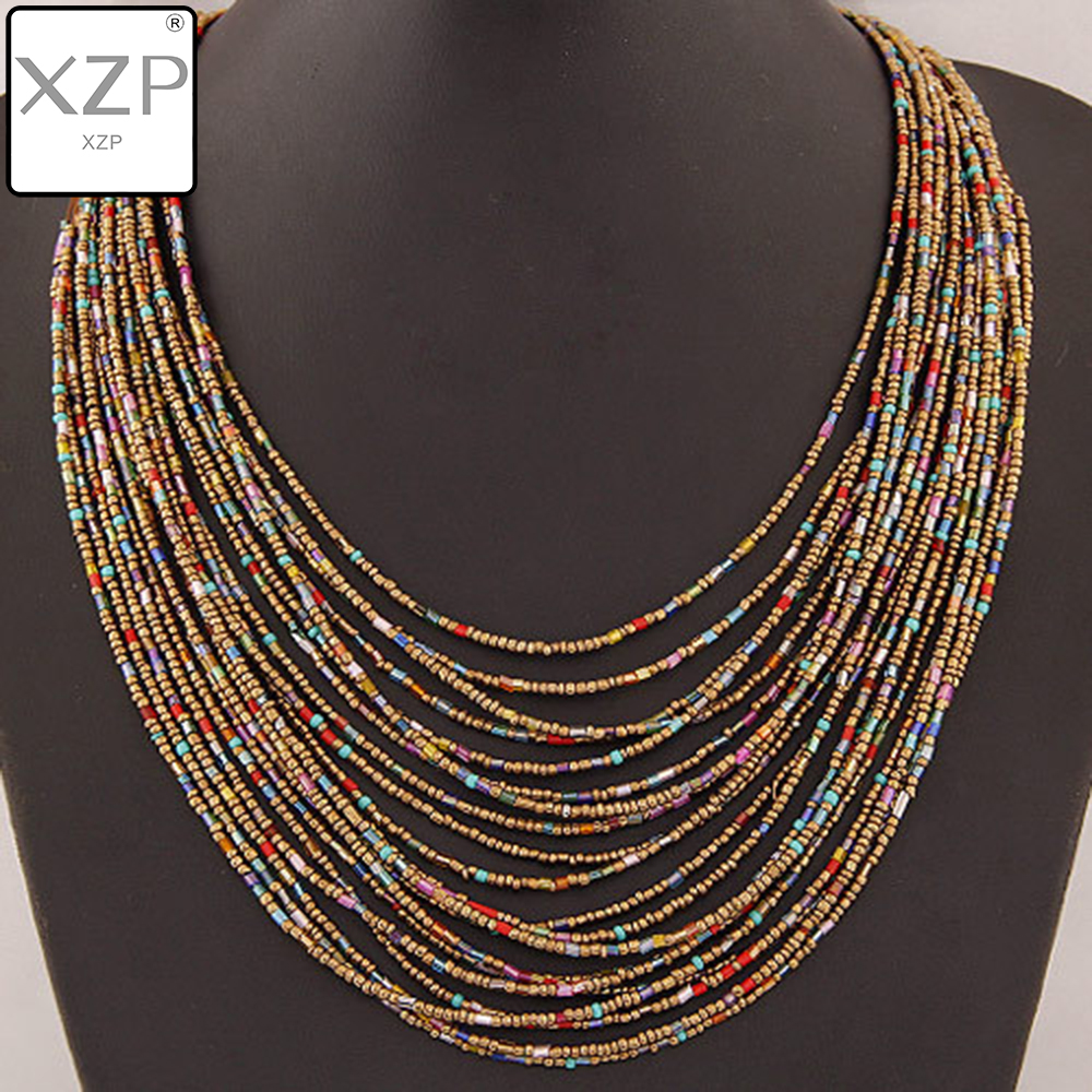 XZP Statement Necklace 2019 Fashion Women Bohemian Multi-layer Seed Beaded Vintage Long Necklaces Pendants Jewelry Accessories