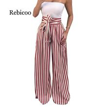 Summer New Bow Tie Wide Leg Pants Women High Waist Long Striped Pants Loose Casual Boho Trousers tie side striped cami top with wide leg pants