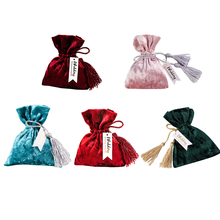 Creative 11x14cm Red Velvet Bags Drawstring Gift For Wedding Small Gold Bag Candy Pouches