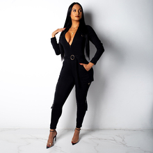 Sexy V-neck Skinny Jumpsuit Women Autumn Casual Long Sleeve Zip Multiple Pockets Sashes Bodycon Jumpsuit Slim Fashion Overalls black zip front v neck long sleeves bodycon jumpsuit
