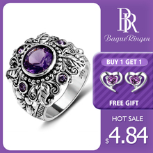 Bague Ringen 2019 Vintage 100% 925 Sterling Silver Jewelry Natural Purple Amethyst Gemstone Rings For Women Men Anniversary Gift